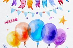 水彩色气球和节日拉旗矢量素材