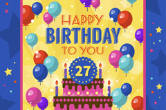 彩色气球和蛋糕生日贺卡矢量图