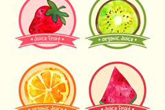 4款彩色水果汁标签矢量素材
