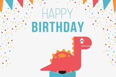 可爱恐龙生日贺卡矢量素材