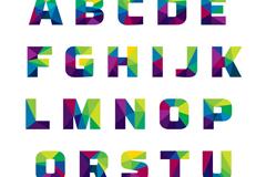 26个抽象拼色字母设计矢量素材