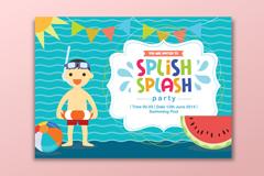 创意泳池派对邀请卡矢量素材