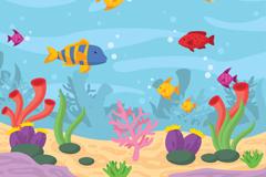 彩色海底世界鱼和珊瑚插画矢量素