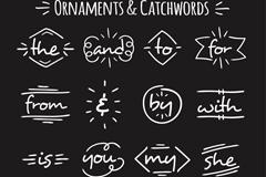 16款手绘英文单词矢量素材