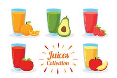 8款美味鲜果汁设计矢量素材