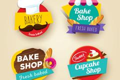 4款彩色面包店标签矢量素材