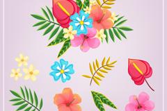 9款热带花卉和叶子矢量素材
