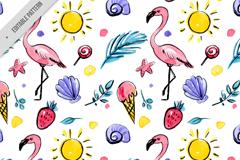 彩色夏季火烈鸟元素无缝背景矢量