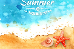 水彩绘夏季海边海螺和海星矢量图