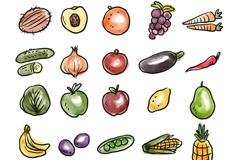 25款手绘水果和蔬菜矢量素材