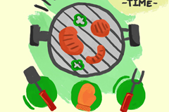 4款彩绘烧烤元素矢量素材
