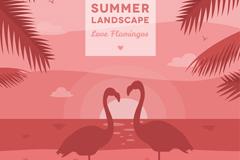 夏季海滩火烈鸟情侣剪影矢量图