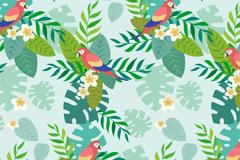 站在花枝上的鹦鹉无缝背景矢量图