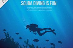 海底潜水人物剪影和珊瑚矢量素材