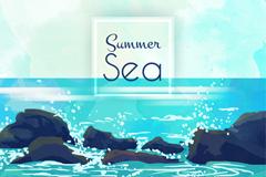 夏季大海与礁石风景矢量素材