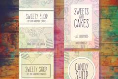 4款手绘糖果店卡片矢量素材