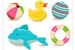 5款彩色水池充气玩具矢量图