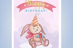 可爱兔子生日贺卡矢量素材
