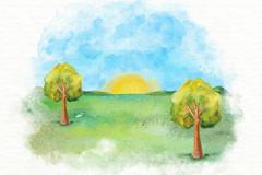 水彩绘夏日郊外日出风景矢量图