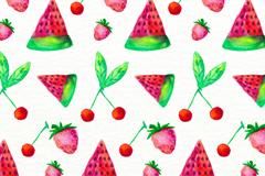彩绘西瓜樱桃草莓无缝背景矢量图
