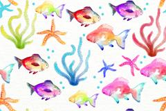 水彩绘水草海星和鱼无缝背景矢量