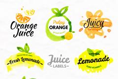 8款水彩绘果汁标签矢量素材
