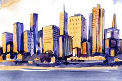 水彩绘海边城市楼群矢量素材