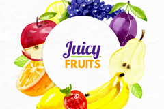 水彩绘多种果汁用水果矢量素材