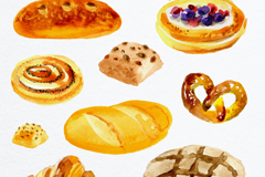 9款水彩绘新鲜面包矢量素材