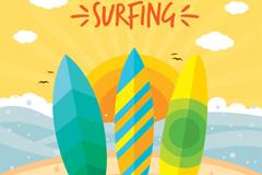 3个彩色海边冲浪版矢量素材