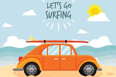 海边冲浪私家旅行车矢量素材