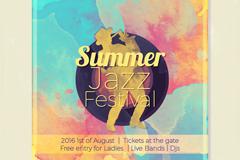 夏季爵士乐音乐节海报矢量素材