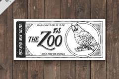 手绘鹦鹉动物园门票矢量素材