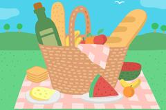 郊外装满食物的野餐篮子矢量图