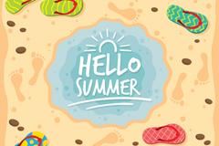 夏季沙滩和沙滩拖鞋矢量素材
