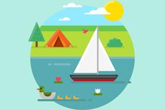 夏季家族野营和帆船郊外风景矢量图