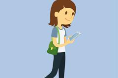 边走路边看手机的女子矢量图