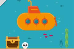 创意海底探险的潜水艇和宝藏矢量图