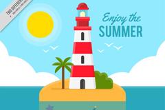 海中岛屿上的灯塔和漂流瓶风景矢量图