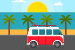海边行驶的旅行车和日出矢量素材