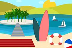 海边度假冲浪板插画矢量素材