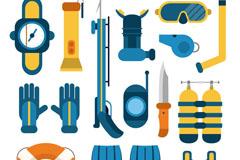14款扁平化潜水装备元素矢量素材