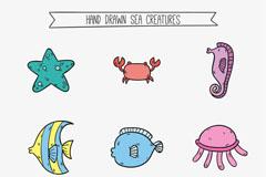9款彩绘海洋动物矢量素材