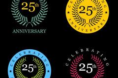4款彩色25周年纪念徽章矢量素材