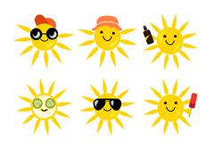 9款可爱黄色太阳设计矢量素材