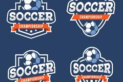 4款创意足球锦标赛标签矢量优发娱乐