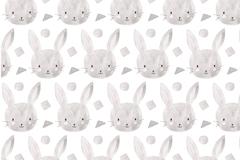手绘兔子头像无缝背景矢量图