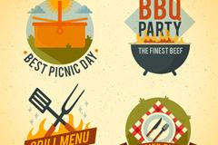 4款烧烤派对和野餐标签矢量图