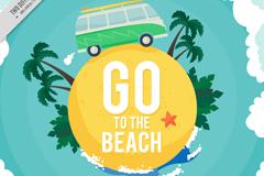 创意夏季沙滩旅行地球插画矢量素材