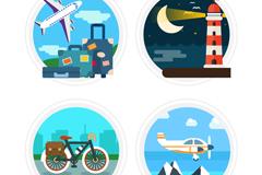 4款圆形旅行标签矢量素材